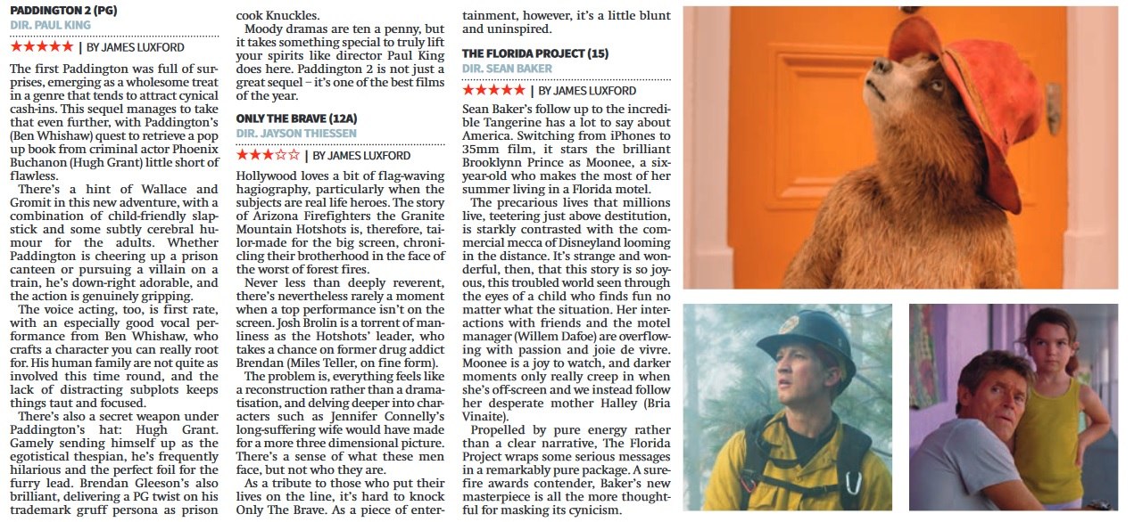 3 reviews - Paddington Only The Brave Florida Project